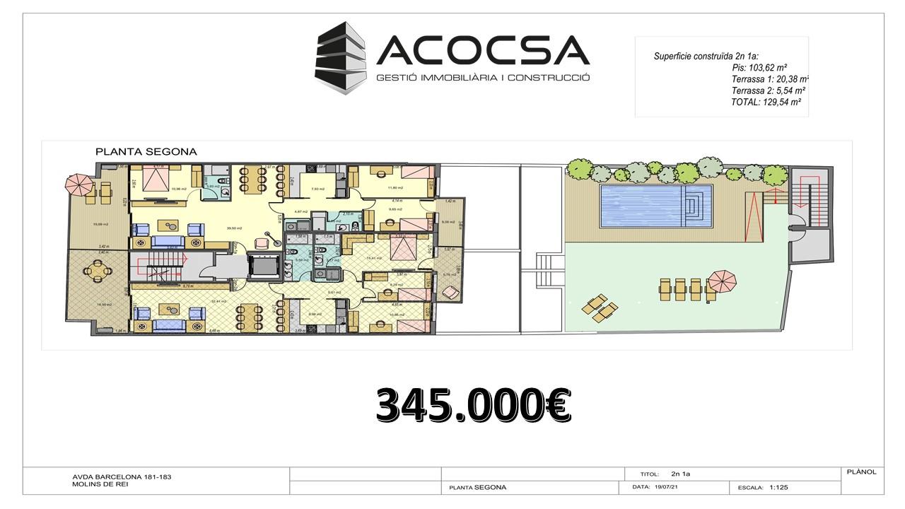 Molins de Rei 025 Piso de 129 m2 de obra nueva con piscina y terrazas